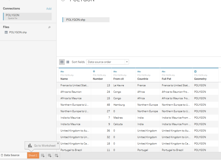 Import shapefile to Tableau